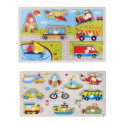 Wooden Cognitive Board Hand Grip Plate Jigsaw Puzzle Toy 2017 real bicicleta infantil infant ride on toys puzzle baby toddler children four wheel hand adjustable wooden push walker toy