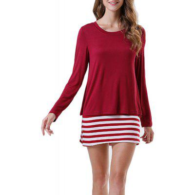 New Women Cotton Stretch Loose Striped Long-Sleeved T-Shirt