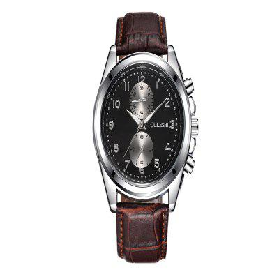 OUKESHI New Fashion Men Simple Two Oil Code Business Sport Strap Watch