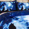 High-Quality Creative 3D Starry Sky Wolf Three-Piece - MULTI