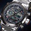 Men's Multifunctional Fashion Sporty LED Digital Double Movement  Quartz Watch - SILVER