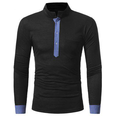 Men's Casual Slim Stand Collar Solid Color Long Sleeve T-Shirt 5218 men classic buckle casual hollow beach water sandals