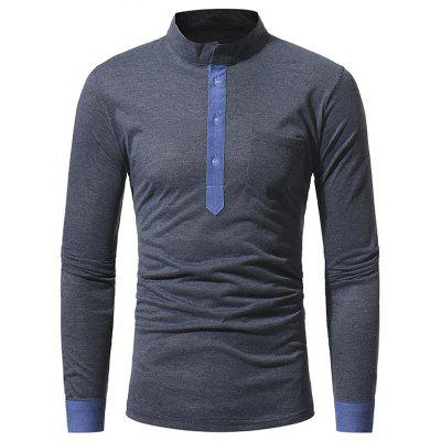 Men's Casual Slim Stand Collar Solid Color Long Sleeve T-Shirt 5218