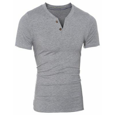 Men's Fashion Casual Slim Solid Color Short-Sleeved T-Shirt 5123 men classic buckle casual hollow beach water sandals