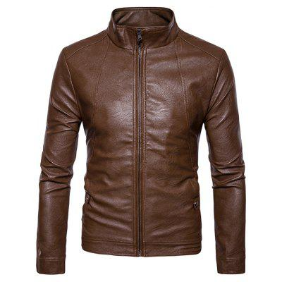 Men's Zip Stand Collar Pu Leather Jacket mens stand collar denim sherpa lined coats