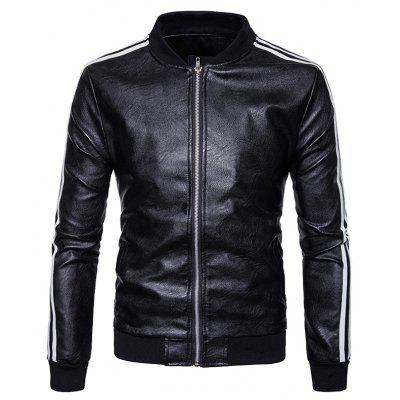 Men's Stripe Zip Stand Collar Pu Leather Jacket mens stand collar denim sherpa lined coats