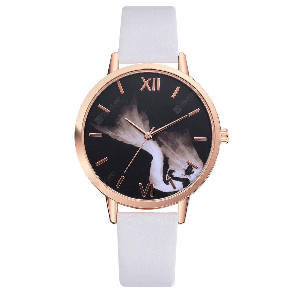 Lvpai P465 Women Fashion Unique Dial PU Band Quartz Watch