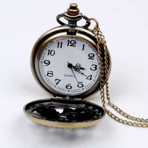 Seasonal 3152437 Fashion Lucky Numbers Hollow Vintage Pocket Watch