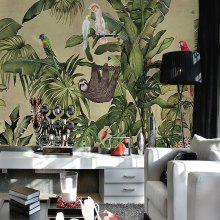 Tropical Rainforests And Birds Mural / Wallpaper Canvas Wall Covering
