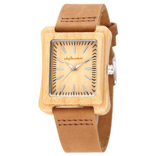 SHIFENMEI 5517 Environmental Protection Wooden Shell Belt Wrist Watch