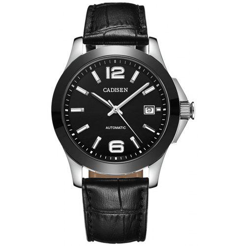 Cadisen Watches Classic Men AUTO Date automatic Mechanical Watch Analog Skeleton Black Leather black ceramic Wristwatch
