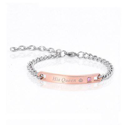 Her King His Queen Couple Bracelets Stainless Steel Crytal Crown Charm Bracelet
