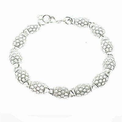 Fashion Hollow Out Beads Link Chain Bracelet 925 Sterling Silver