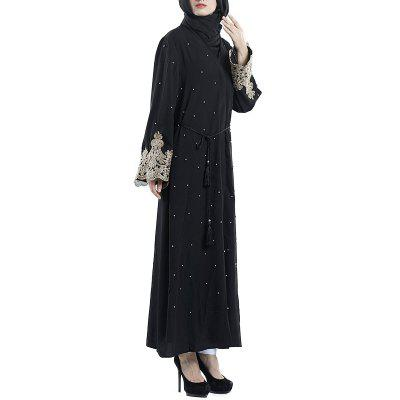 Splicing Beads Cardigan Long Dress