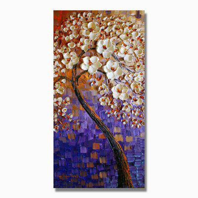 STYLEDECOR Modern Hand Painted the Knife Draws the Blue White Flower Tree