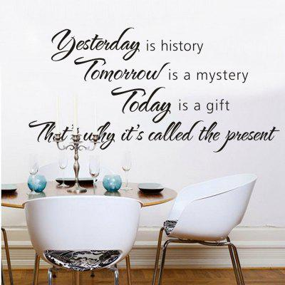 Carved Yesterday is History English Wall Sticker