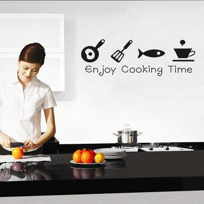 English Enjoy Cooking Time Kitchen Living Room Carved Wall Stickers