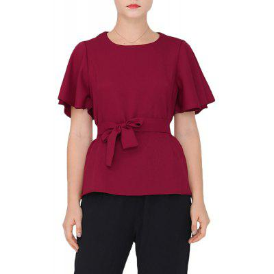 Large Size Women's New Waistband Solid Color Temperament T-Shirt