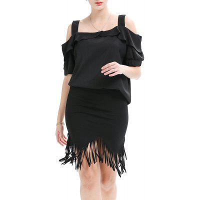 Summer New Large Size Women's Short-Sleeved Sling Ruffled Top