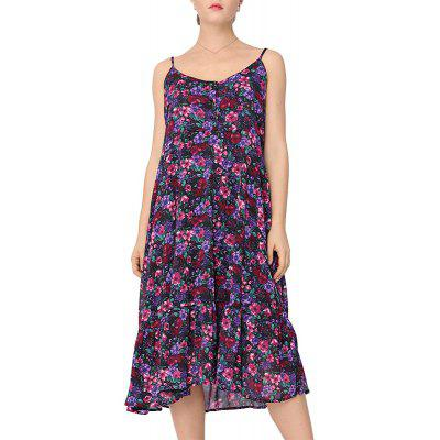 Summer Large Size Women's New Loose Chiffon Strap Print Dress