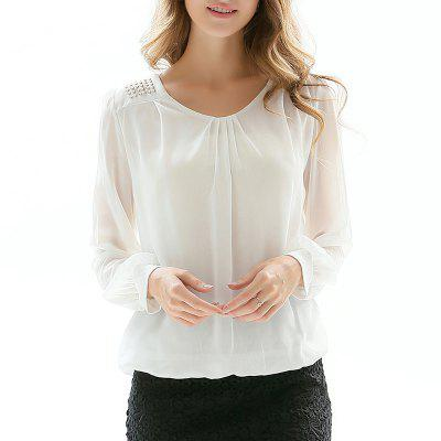 New Fashion Loose Large Size Women's Hot Drilling Long Sleeve Chiffon Shirt