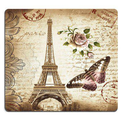 Mouse Pad Vintage Paris Eiffel Tower Pink Rose Floral and Butterfly Stamp