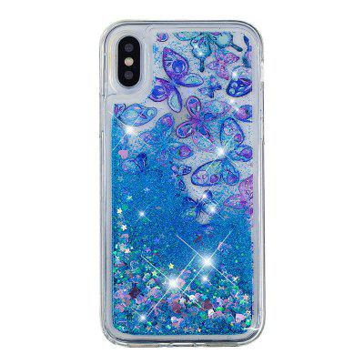 Built-In Pattern Painted Quicksand Phone Case for iPhone X