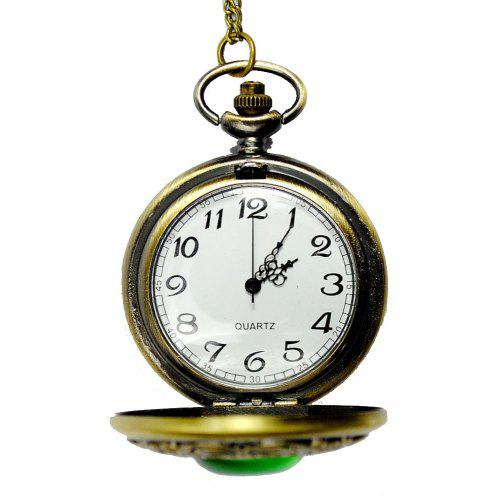 Seasonal 3152439 Green Cat Eye Palace Carved Hollow Cover Pocket Watch
