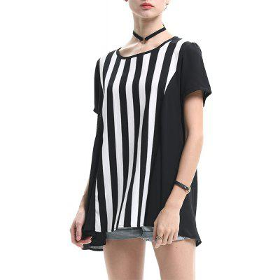 Summer New Large Size Women's Striped Loose Chiffon T-Shirt