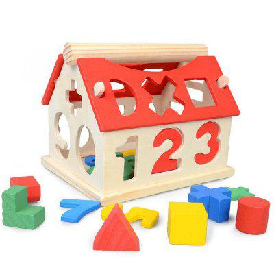 Wooden Digital Number House Building Toy Educational Intellectual Block