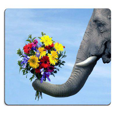 Mouse Pad Elephant Snatching Up Floral Bouquets with Its Trunk Custom Design