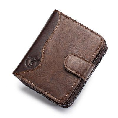 BULLCAPTAIN Genuine Leather Men Wallet Fashion Coin Purse Card Holder Small Wall