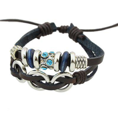 Personality Multilayer Chain PU Leather with Geometry Bracelet