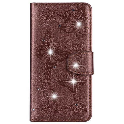 save off 0ac10 7a11f Mirror Case for Huawei Y6 2018 Phone Diamond Strap Wallet Leather Cover