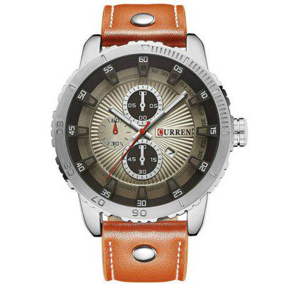 Curren Men Sports Analog Date Leather Quartz Montres Étanches