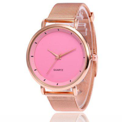 V5 Women Fashion Casual Simple Dial Stainless Mesh Strap Quartz Watch