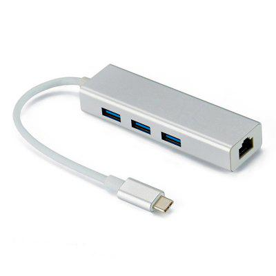 Adaptador Ethernet Gigabit de tipo C a RJ45 1000 Mbps USB 3.0 HUB para MacBook