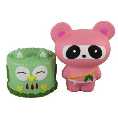 2PCS Jumbo Squishy Owl Cake and Ninja Panda Relieve Stress Toys