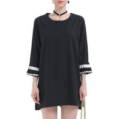 Large Size Women's Round Neck Ruffled Seven-Point Sleeves Slim Dress