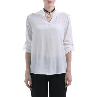 Large Size Women's V-Neck Irregular Long-Sleeved Chiffon Shirt