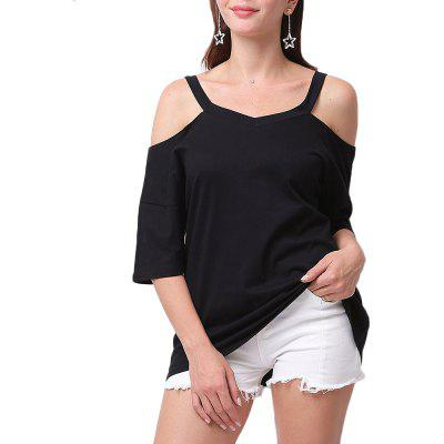 Large Size Damen Sexy Tops Volltonfarbe Trägerloses T-Shirt