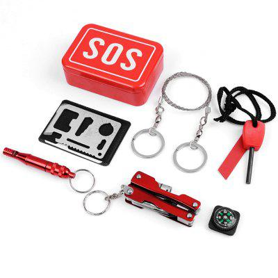 Outdoor Emergency Equipment SOS Kit First Aid Box Camping Travel Survival Gear
