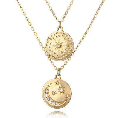 Collana donna semplice design in oro con diamanti e mini disco lunare