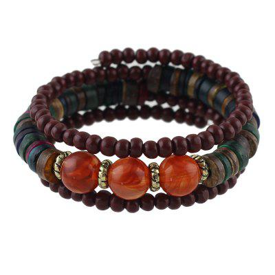 Multilayer Chain with Colorful Bead Bracelet