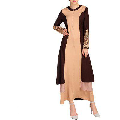 Round Collar Lace Splicing Embroidery Long Dress