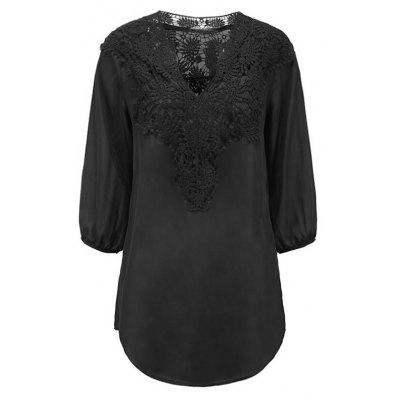 Women Plus Size Blouse Loose V-neck Lace Chiffon Shirts