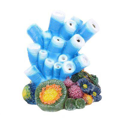 Aquarium Decor Air Bubble Stone Blue Coral Starfish Oxygen Pump Resin Crafts