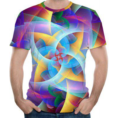 Fashionable New Colorful 3D Printing Men's Short Sleeve T-shirt