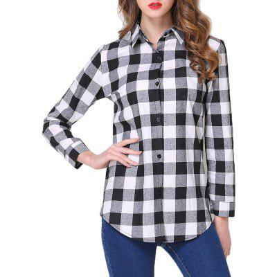 Women Casual Plaid Slim Long-Sleeved Shirt