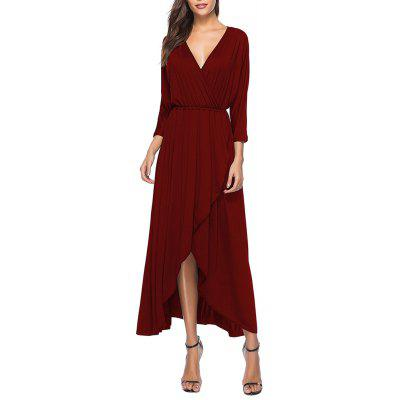 Women's 3/4 Sleeve Deep V-Neck Slim Waist Split Plus Size Maxi Dress